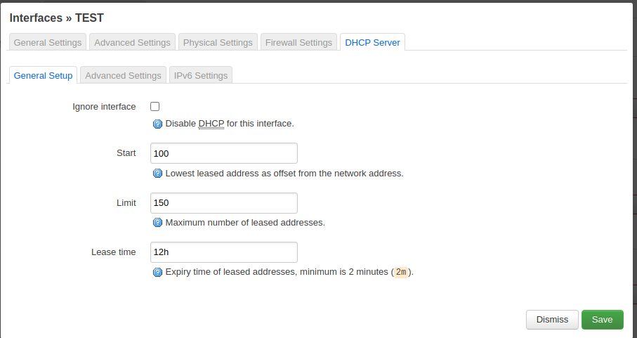 The DHCP settings can remain as they are.